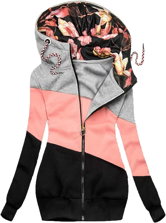 COGOTO Mode Beiläufig Blumendruck Jacke Reißverschluss Tasche Sweatshirt Langarm Mittlere Länge Mantel für Frauen Z3