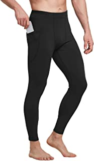 Men's Active Yoga Leggings Athletic Dance Tights Gym Training Workout Pants Side Pocketed