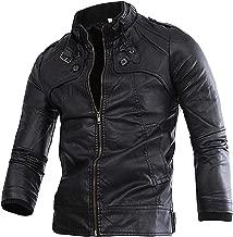 B Dressy Men's Slim Ultimate Stand-Collar PU Leather Jacket Coat Bomber Jacket Fashion