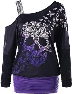 Sudadera Mujer Halloween, K-Youth Calavera Mariposa Impresas Ropa de Mujer Otoño Tirantes Camisetas Mujer Manga Larga Fies...
