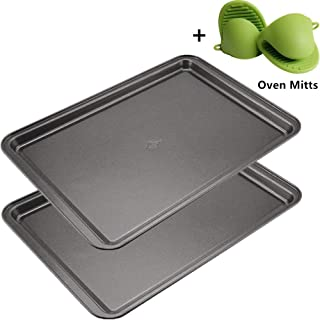 Mokpi Non-Stick Baking Pans Cookie Sheets Set for Oven Premium Baking Tray Rectangular Plate Bakeware, 14.5 x 10 x 1 Inch ...