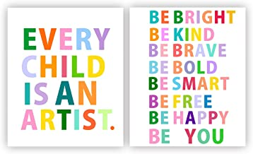 Inspirational Quotes Poster Every Child is an Artist and Be Quotes Wall Poster Motivational Wall Prints Inspiration Rainbow Quotes Wall Art Nursery Inspirational Pictures Home Decor (Unframed)