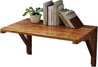 MZSH Bureau Rabattable, Table Pliante Murale, Table Cuisine Pliable, Bois Massif Rustique, Fini Brun, Taille en Option