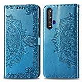 Bear Village Hülle für Huawei Nova 5T / Honor 20, PU Lederhülle Handyhülle für Huawei Nova 5T / Honor 20, Brieftasche Kratzfestes Magnet Handytasche mit Kartenfach, Blau