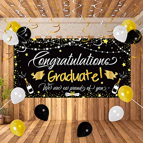 90shine 25PCS Graduation Party Supplies 2020 - Large Congrats Grad Banner Garland Photo Backdrop+Balloons+Hanging Swirls Decorations Favors