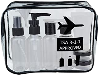Wobe Travel Bottles and TSA Approved Toiletry Bag, Clear Quart Size with Leak-Proof Travel Containers Set Makeup Bag Acces...