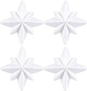 Craft Foam - 4-Pack Star-Shaped Foam, 8-Pointed Star 3D Foam Shape for DIY Arts and Crafts, White Polystyrene Foam, 7 x 3 x 7 Inches