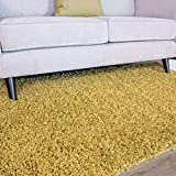 The Rug House Ontario Alfombras de Pelo Largo Shaggy para Sala de Estar de Tacto Suave Fácil de Limpiar Color Amarillo Ocre 60cm x 110cm