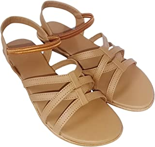 saanvishubh Stylish Faux Leather Flat Sandal for Girls and Women