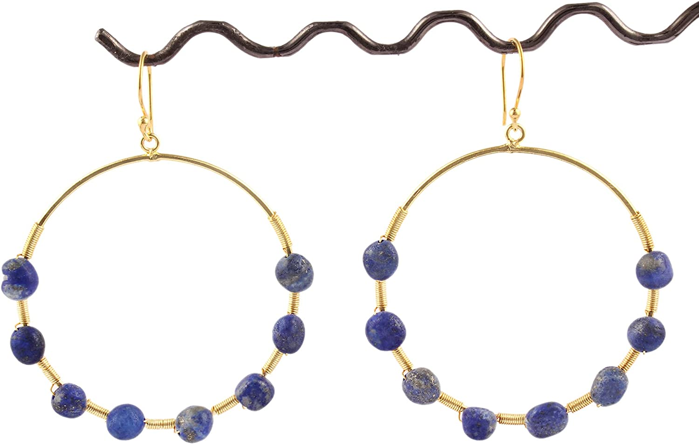 Lapis Lazuli Hoop Drop Dangle Earring for Girls & Women Natural Gold Plated By GUNTAAS GEMS
