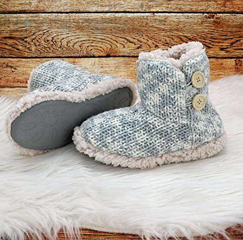 Fashion&Joy Hüttenschuhe Hausschuhe Strick Boots meliert in grau mit Fell & Antirutschsohle Größe 37 Chalet Style mit Holzknöpfen Winter Stiefel Typ491