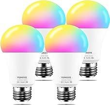 لمبة إضاءة LED لاسلكية ذكية قابلة للتعتيم 9 وات 1000 لومن، YUNSYE E27 متعددة الألوان متوافقة مع ألكسا، Echo، Google Home (...