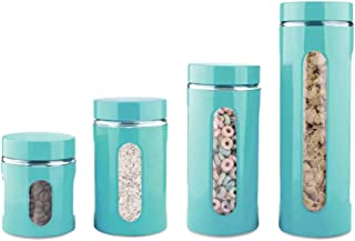 Home Basics 4-Piece Glass Canister Cylinder Set with...