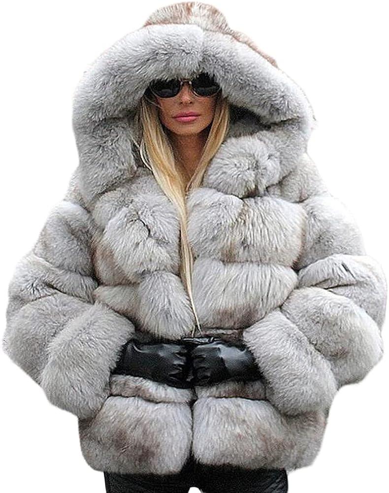 Women Winter Parka Outwear Luxury Faux Fox Fur Coat Jacket With Big Hooded Flurry Faux Fur Coat Overcoat