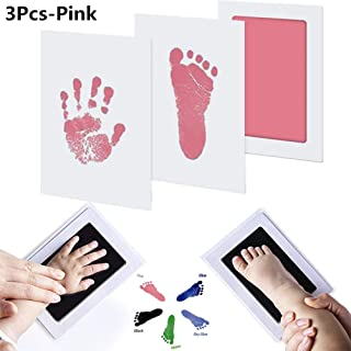 SUSHAFEN 3Pcs Baby Handprint&Footprint Ink Pads without Ink-Touch,3 Ink Pads+6 Imprint Cards Safe Non-Toxic Print Kit for Baby Shower Gift Keeping Baby Memory DIY Family Photoes-Pink