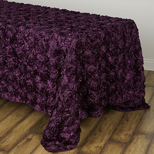 BalsaCircle 90x132 Eggplant Purple Satin Raised Rosettes Rectangle Tablecloth Wedding Party Dining Room Table Linens