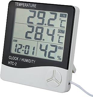 VADIV Termómetro Higrómetro Digital Estación Meteorológica Interior y Exterior Termohigrometro con Despertador Medidor Humedad Ambiental con Pantalla LCD para Oficina, Jardineria- 1.4 Metros