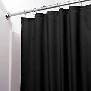 Amazon Com Mildew Free Waterproof Vinyl Shower Curtain Liner Black Home Kitchen