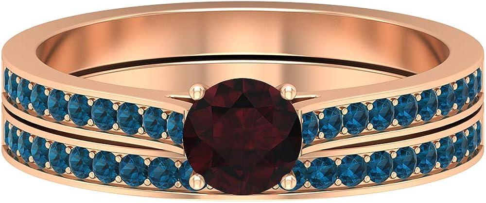 1/2 CT Garnet Solitaire Ring, 1.3 MM London Blue Topaz Eternity Band, Gold Wedding Ring Set (5 MM Round Shaped Garnet), 14K Gold