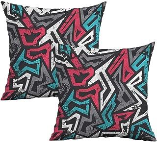 Khaki home Grunge Square Zippered Pillowcase Hip Hop Culture Graffiti Square Throw Pillow Covers Cushion Cases Pillowcases for Sofa Bedroom Car W 14