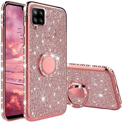 XTCASE Hülle für Samsung Galaxy A42 5G, Glitzer Bling Glänzend Strass Diamant Handyhülle mit 360 Grad Ring Ständer Superdünn Stoßfest TPU Silikon Tasche Schutzhülle - Rosé Gold
