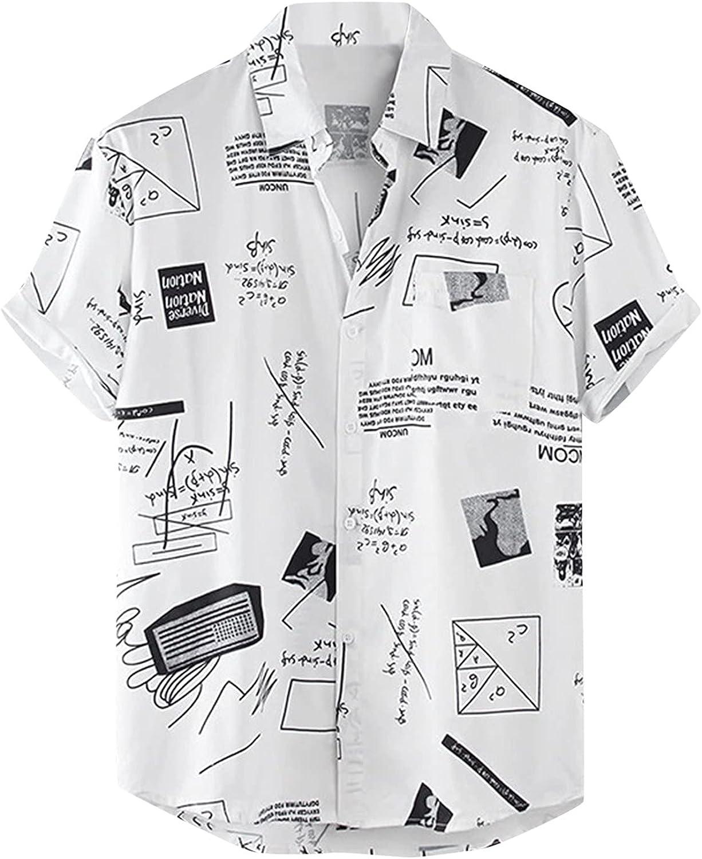 Men Hawaiian Shirts Casual Short Sleeve Button Tops Summer Beach Plaid Print Shirt Fahion Loose Turn-Down Tee Blouse