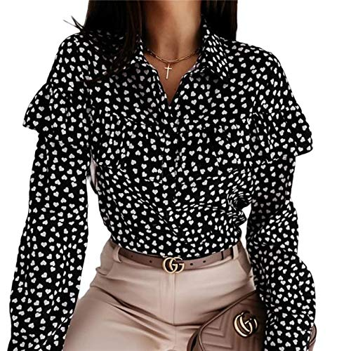 Manga Larga Camisa Sweet Ruffles Polka Dot Shirt Mujer Otoño Primavera Botón De Manga Larga Moda Blusa De Gran Tamaño Tops Streetwear XXXL B Entrega Rápida Gratuita