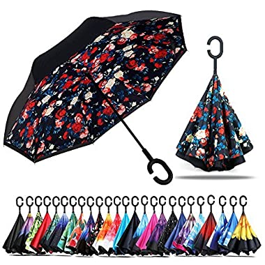 Owen Kyne Windproof Double Layer Folding Inverted Umbrella, Self Stand Upside-down Rain Protection Car Reverse Umbrellas with C-shaped Handle (Red Bellamy)