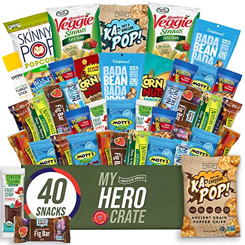My Hero Crate Gluten Free Military Care Package Healthy Snacks Variety Pack - Low Carb, Vegan treats for Adults and Kids - Organic, Dairy Free, Keto and Paleo Options - Assorted 40 Pack Gift Box