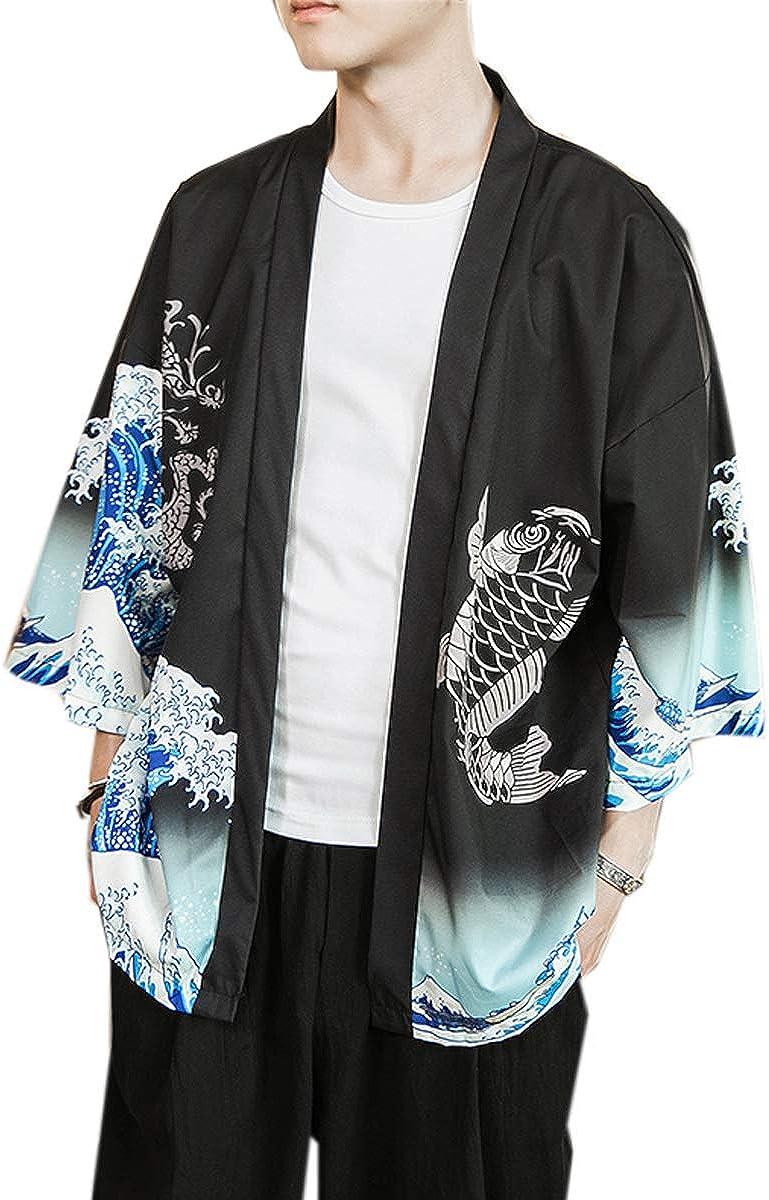PRIJOUHE Men's Kimono Cardigan Jacket Japanese Style Flying Crane Seven Sleeves Open Front Coat