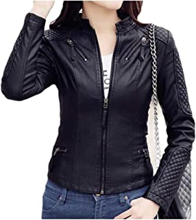 MogogoWomen Silm Fit Stand Collar Faux Leather PU Faux Leather OL Jackets