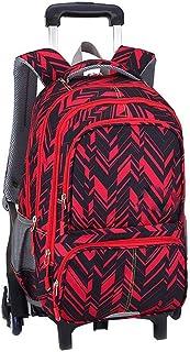 KJRJLG Girls Rolling Backpack Wheeled Backpack Trolley School Bag Travel Luggage (Color : Red)