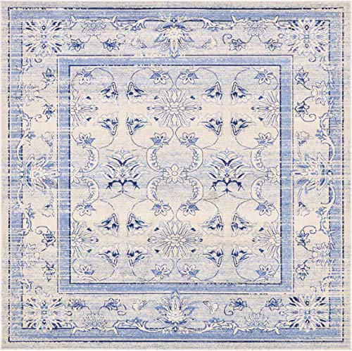 Unique Loom La Jolla Collection Tone-on-Tone Traditional Ivory/Blue Square Rug (10' 0 x 10' 0)