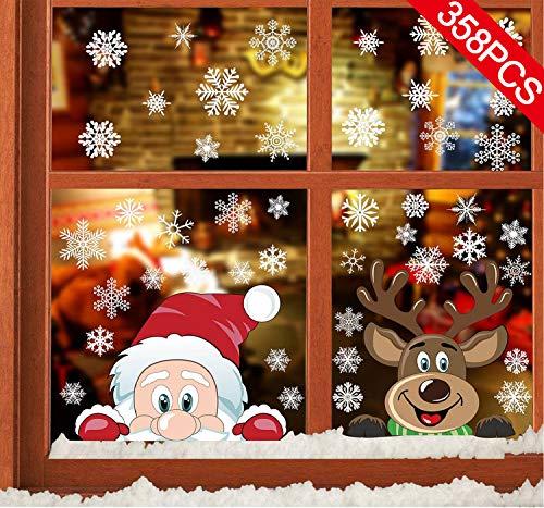 CMTOP Navidad Pegatina Calcomanías (358 pcs) para Ventanas Lindo Decoración de Ventanas Espiar Santa Claus Elk PVC Pegatinas Electrostáticas