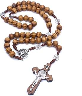 Halskette Kreuz Anhänger Männer Frauen Rosenkranz Perle Seil kette 8mm Woven