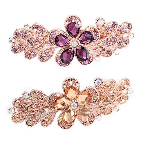 Pinces à cheveux pour filles à la mode avec fleur de diamant, 2 pces, violet / Champagne
