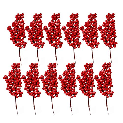 LouisaYork 12 Pcs Artificial Red Berry Stems, 8.7 Inch Christmas Holly Berries Artificial Fruits for Home Wedding Christmas Tree Decoration