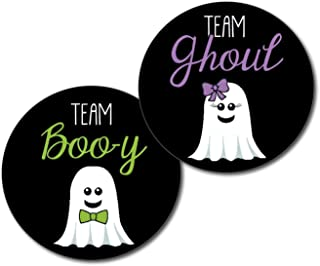 36 2.5 inch Ghost Team Ghoul or Boo-y Girl Boy Halloween Gender Reveal Party Stickers - purple and green