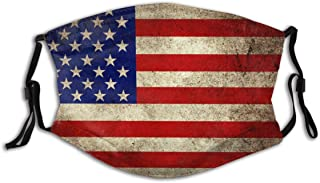 BYJHMB Grunge USA Flag Background Cotton Washable Nose Wired Face Cover Filter Pocket Wide Cover with Filter