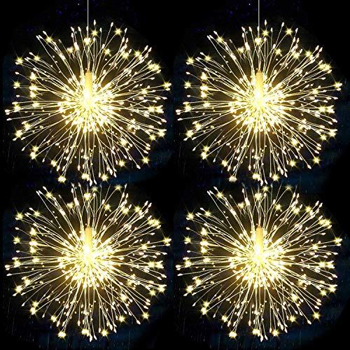 Feuerwerk, Lichterkette, Lichterkette, Weihnachtsbeleuchtung, 120 LEDs, Kunstwerk, Lichter für Party, Hochzeit, Garten Dekoration (weiß)