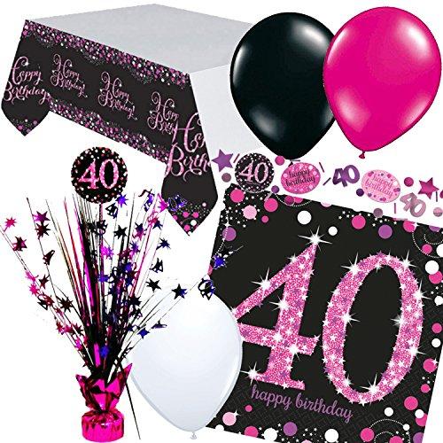 Nieuw: 33-delig. Tafeldecoratieset * Magenta Sparkling * voor de 40e verjaardag | met Centerpiece + tafelkleed + confetti + servetten | Deco Set Party Vierkant