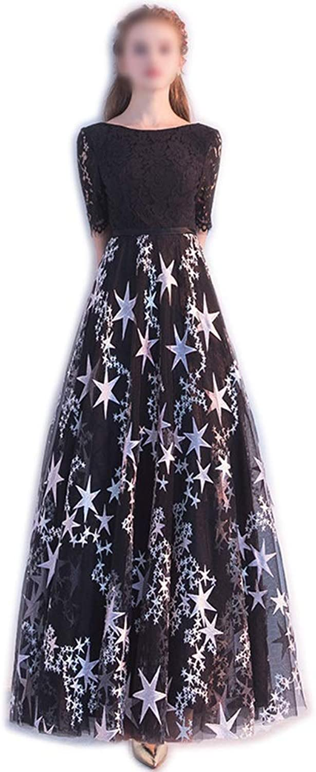 Sugoishop Spring Fashion Black Long Party Party Dress Dress (color   Blackb, Size   XS)