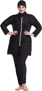 Rummyluckjp Women Swimwear 3-Piece Burkini Set Long Sleeve Swimming Suit Sun Protection Muslim Plus Size Swimsuit
