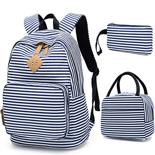 BLUBOON Girls School Backpack Set Boys Students Casual Kids Travel School Bookbag Teens Girls Schoolbag (Blue White Stripe)