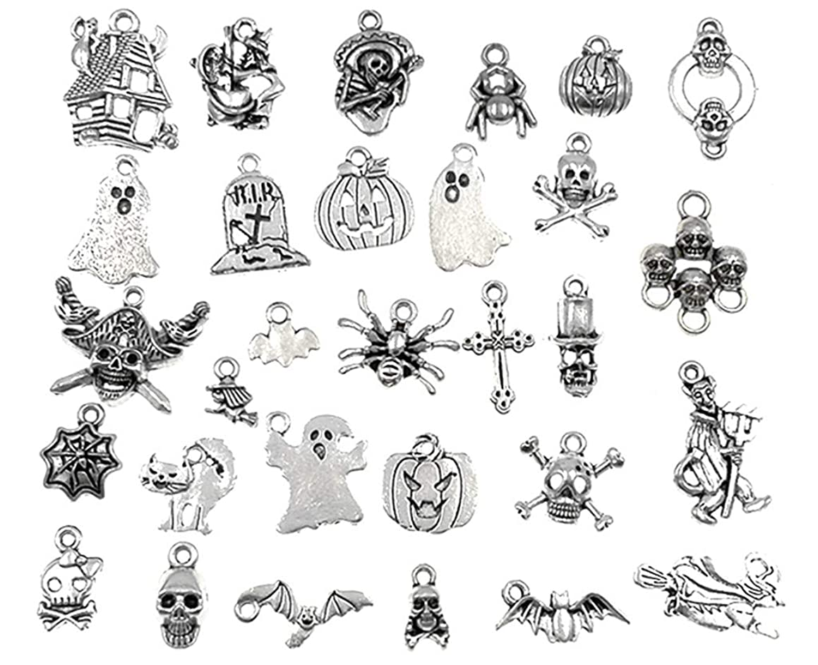 30pcs Halloween Charm Pendant Hallowmas Theme Charm for DIY Jewelry Making Accessories(Antique Silver Tone)