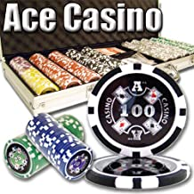 500 Count Ace Casino Poker Set - 14 Gram Clay Composite Chips with Aluminum Case, Playing Cards, & Dealer Button for Texas...