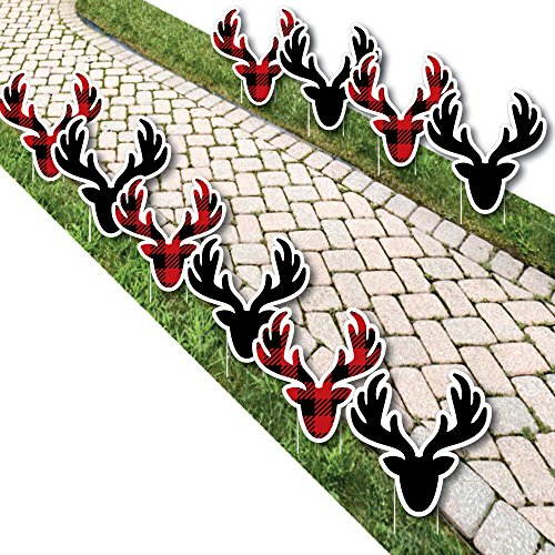 Big Dot of Happiness Prancing Plaid - Reindeer Lawn Decorations - Outdoor Christmas and Holiday Buffalo Plaid Yard Decorations - 10 Piece