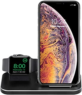 BYUEE Wireless Charger and iWatch Stand, 2 in 1 Aluminum Charging Station Compatible with iPhone 8/X/Xs/Xs Max/11/11 Pro/11 Pro Max and iWatch Series 5/4/3/2/1