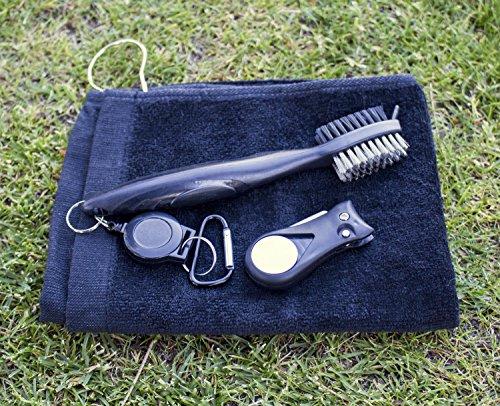 Golf Cleaning Brush Divot Tool Towel Combo (Black Brush Black Divot Tool)