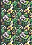 Cahier: A4-petits carreaux (21x29,7cm)-grand format-96 pages- couverture fleurs-cahier journal de notes pour: école, université, travail, ... de bord-bloc notes- enfant-étudiant-profs